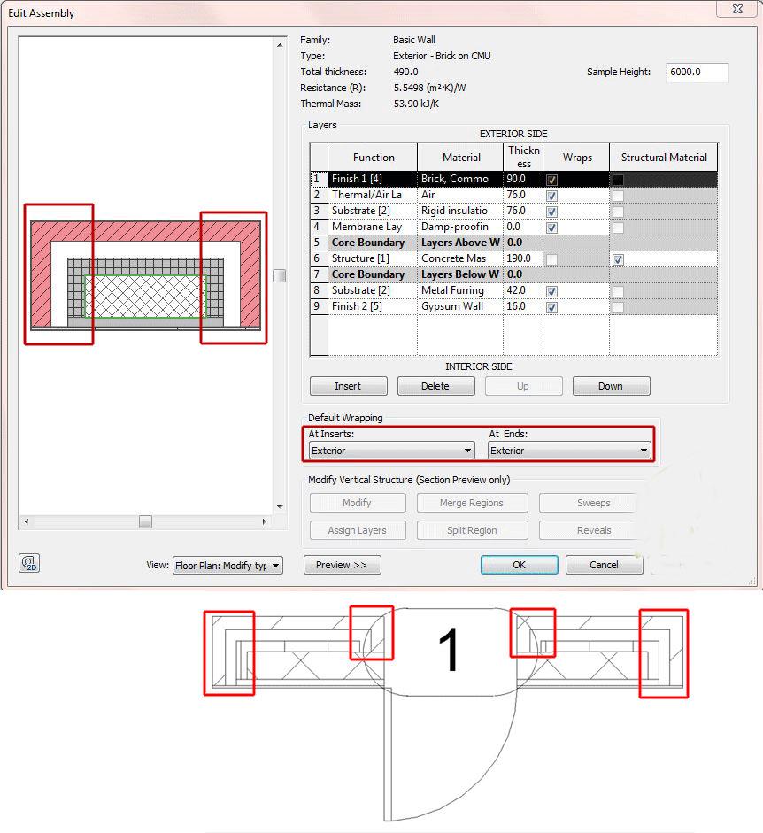 گزینه wrap در تنظیمات دیوار Revit