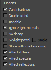 تنظیمات option vraylight