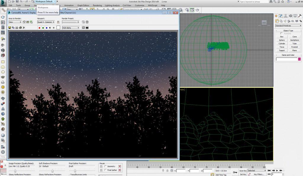 طراحی آسمان پر ستاره در تری دی مکس