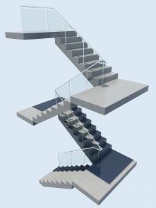 ساخت شیشه و فلز برای نرده و پله در تری دی مکس