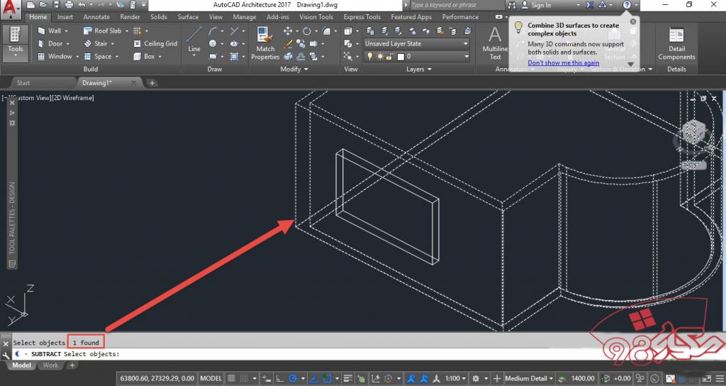 ساخت و قرار دادن پنجره در دیوار در اتوکد سه بعدی