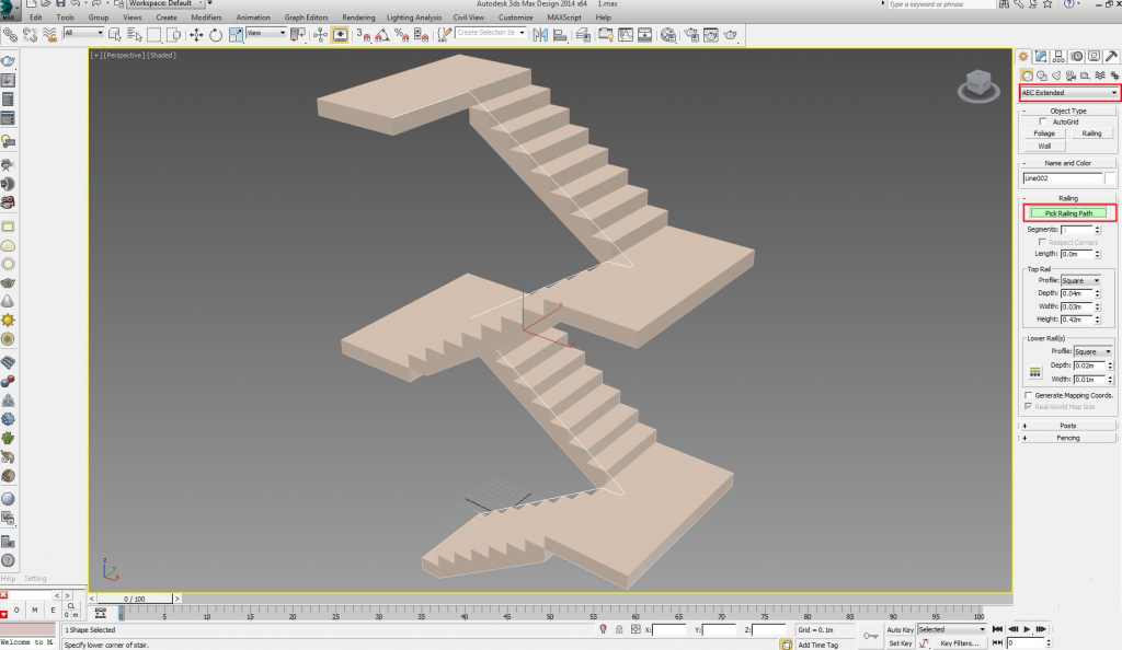 طراحی نرده های پله در تری دی مکس