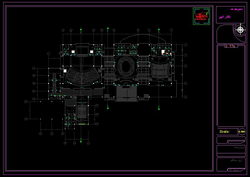 نقشه کامل تئاتر شهر ( نقشه اتوکدی - تری دی مکس - رندر )