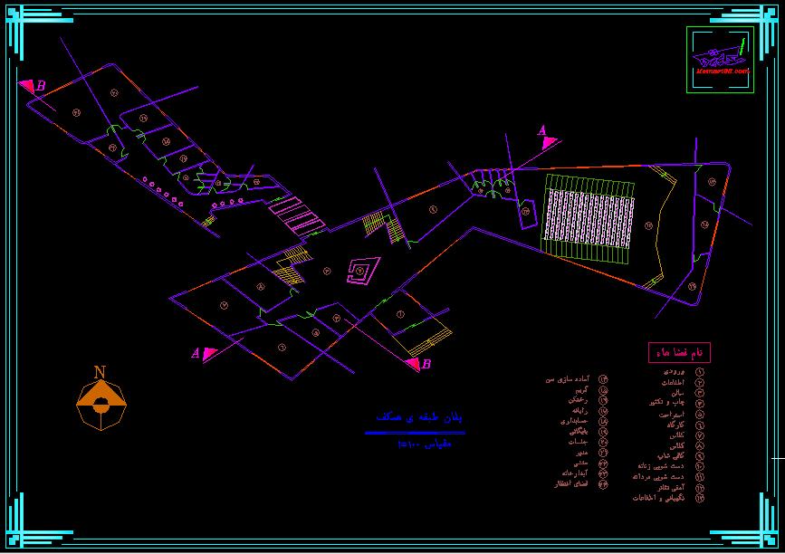 نقشه کامل مجتمع فرهنگی ( نقشه اتوکدی - تری دی مکس - رندر )