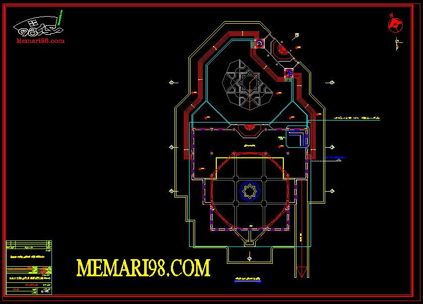 نقشه کامل مسجد شامل 30 شیت