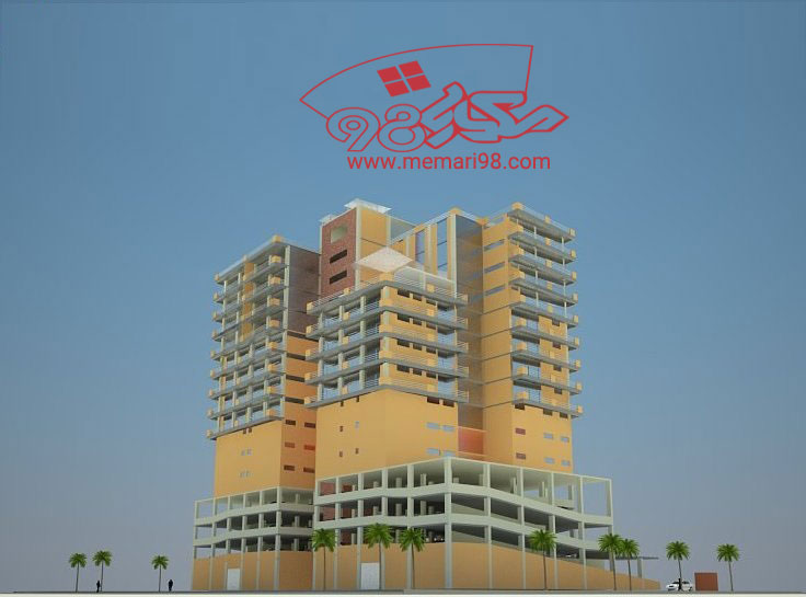 پلان مجتمع مسکونی آپارتمانی ( اتوکد - رندر )