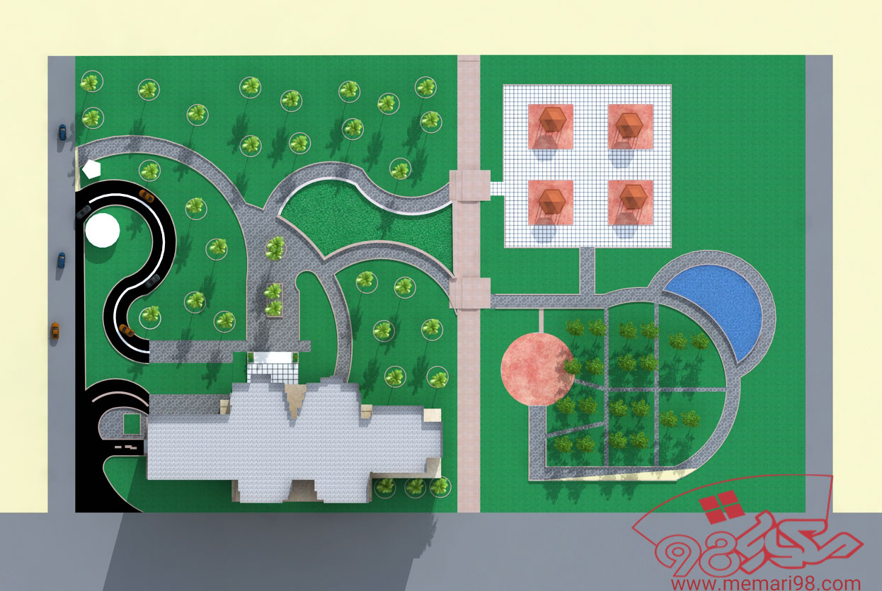 پلان مجتمع مسکونی تجاری ( اتوکد - تری دی مکس - رندر )