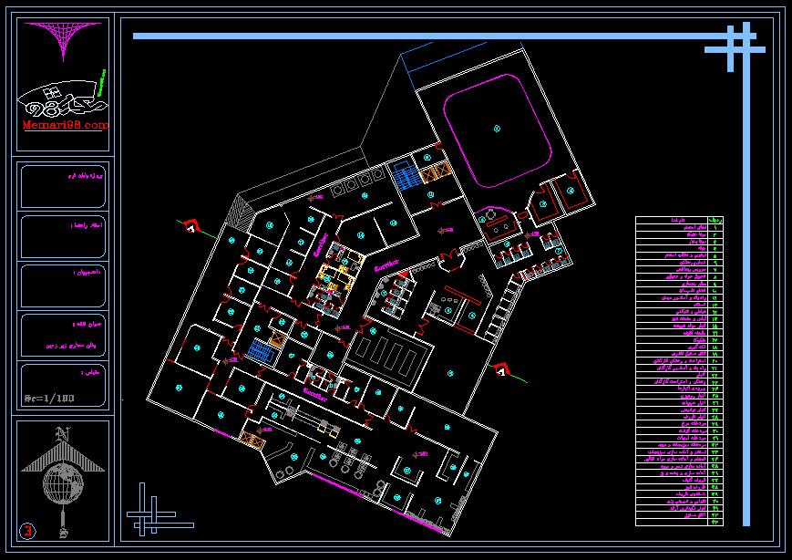 نقشه کامل اتوکدی هتل 5 ستاره