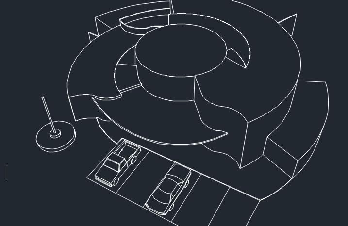 3 پلان اتوکدی کلانتری با سه بعدی