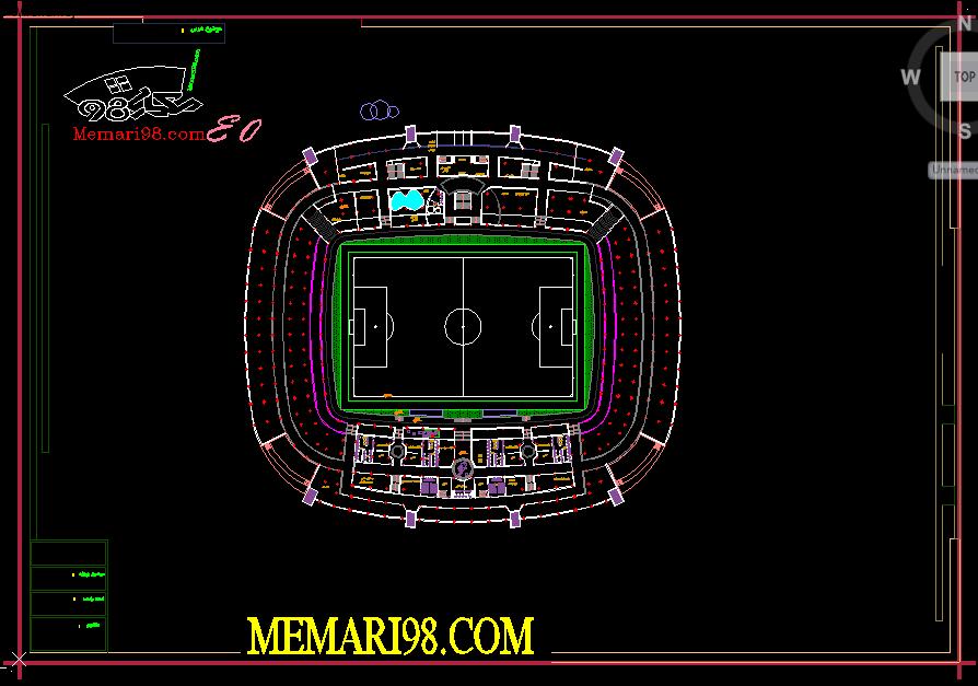 رساله استادیوم فوتبال (اتوکد-عکس-پوستر-پاورپوینت دفاعیه-psd-رندر-رساله)