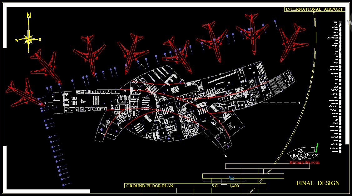 رساله کامل فرودگاه ( اتوکد - رندر - عکس - پاورپوینت ارائه - رساله - شیت بندی )