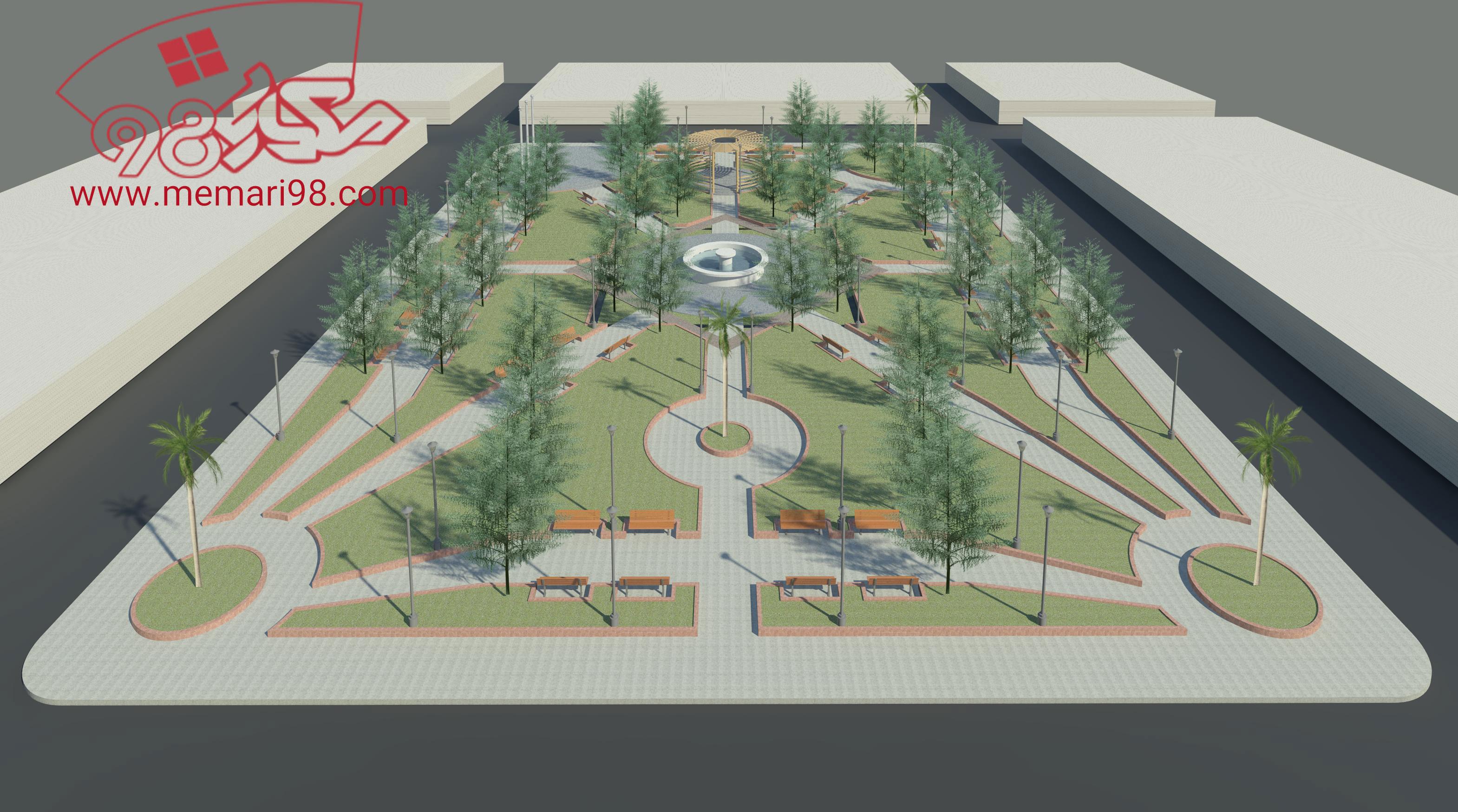 نقشه پارک محلی ( تری دی مکس - اتوکد - psd - شیت بندی )