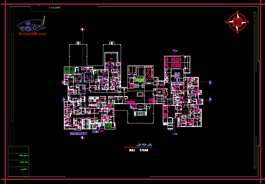 پروژه کامل بیمارستان ( اتوکد - تری دی - رویت - psd - شیت بندی ) (8)