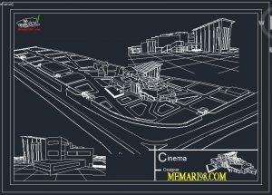 نقشه کامل سینما ( اتوکد - رندر - تری دی مکس - psd - شیت بندی )