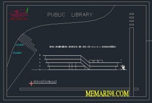نقشه کتابخانه عمومی ( رندر - عکس ماکت - اتوکد - psd - پوستر )