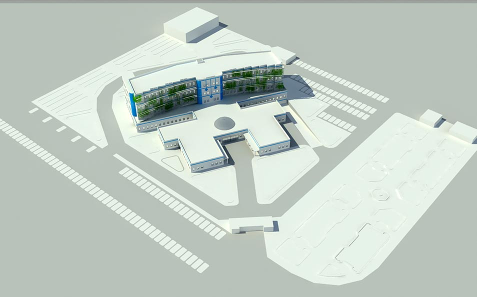 پلان بیمارستان ( اتوکد - رندر - پوستر )