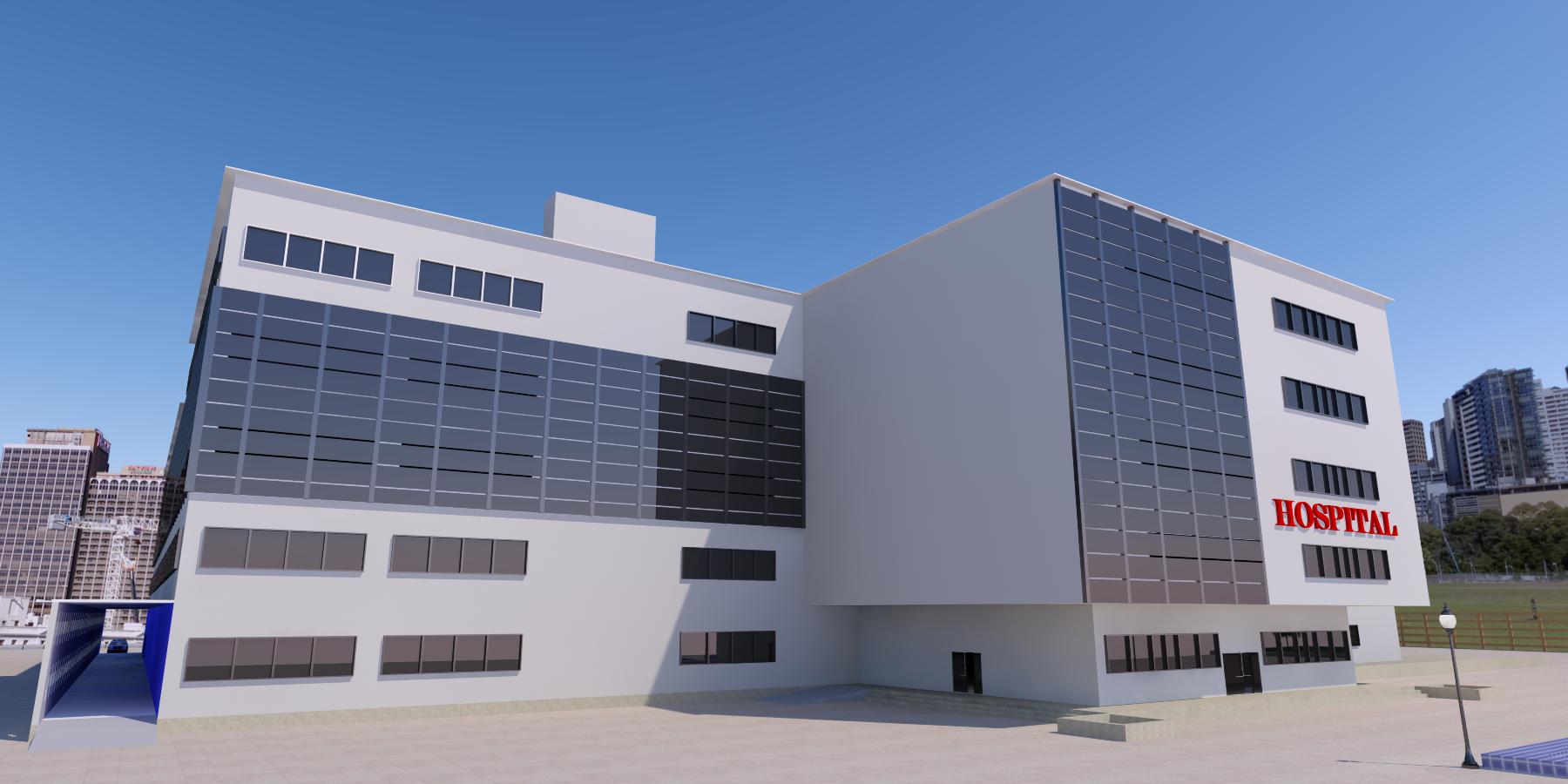 نقشه کامل بیمارستان 4 طبقه با رندر