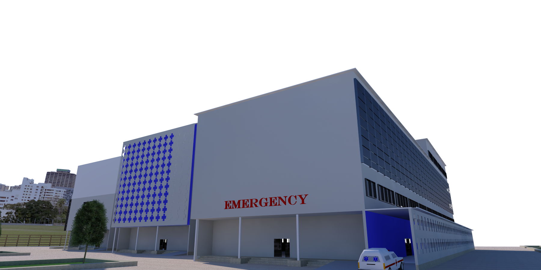 نقشه بیمارستان 4 طبقه با رندر