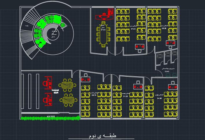 طرح کامل مدرسه ابتدایی 6 کلاسه با جزئیات