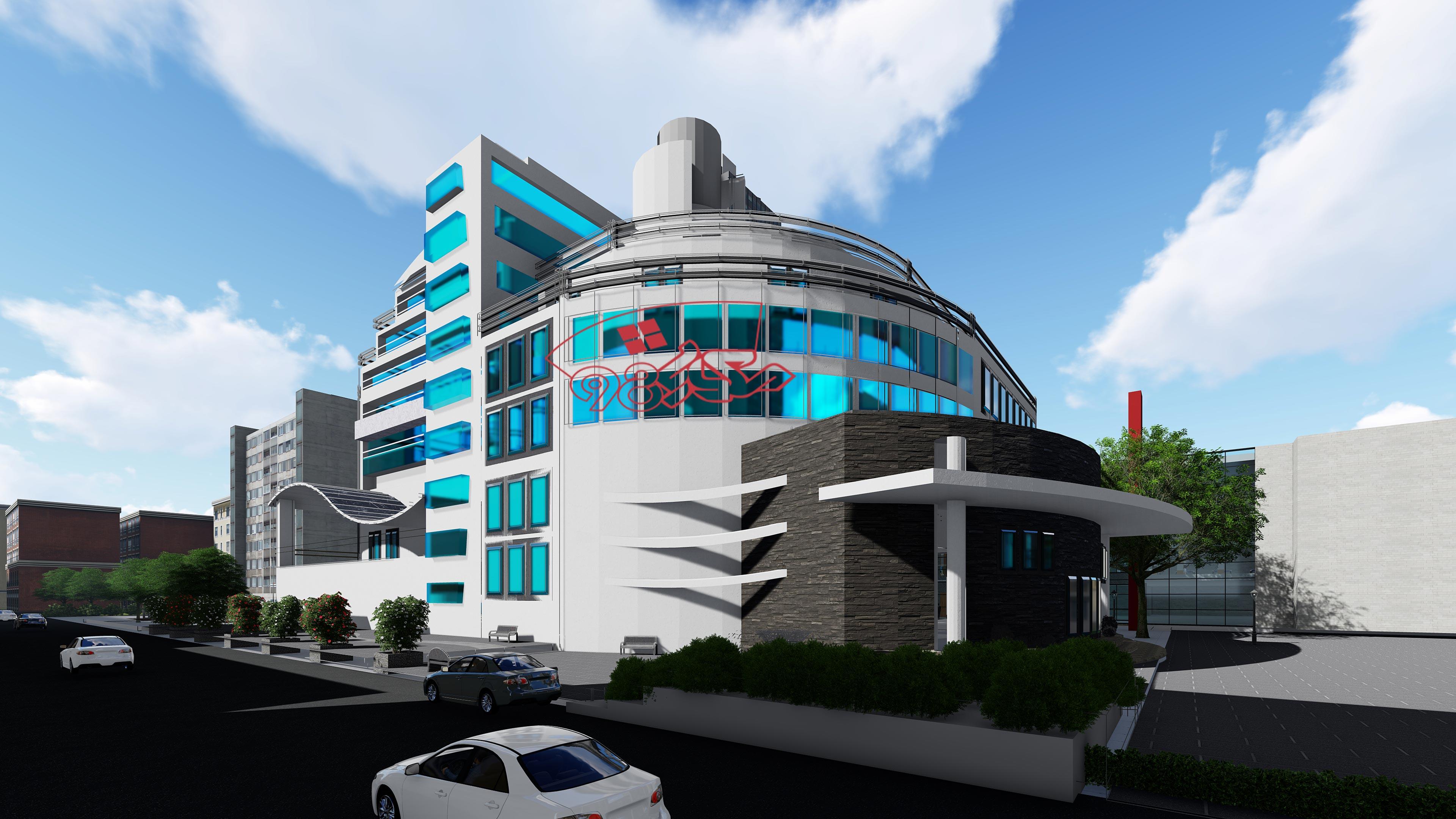 طرح کامل هتل به سبک پست مدرن با جزئیات