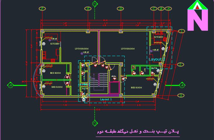 طراحی فنی ساختمان 2 طبقه کامل