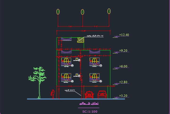 طراحی فنی ساختمان 2 طبقه