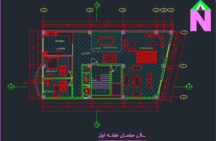 طراحی فنی مسکونی 2 طبقه کامل