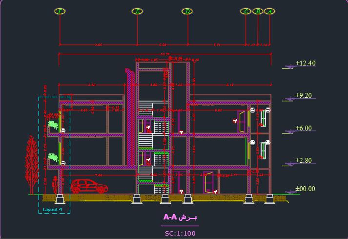 طراحی فنی مسکونی 2 طبقه