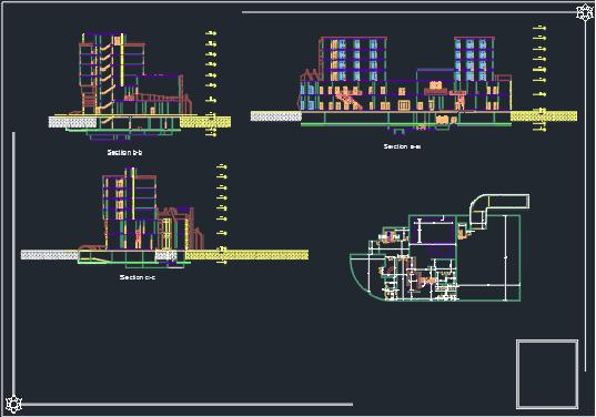 نقشه کامل هتل 6 طبقه طرح 3
