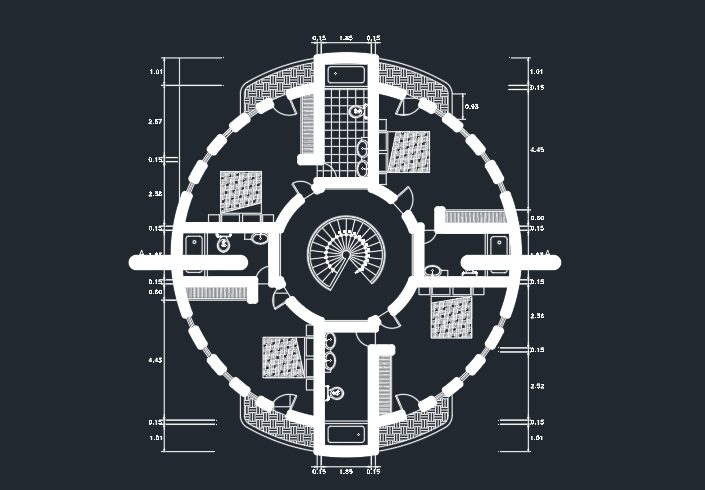 پلان ویلای دایره ای کامل