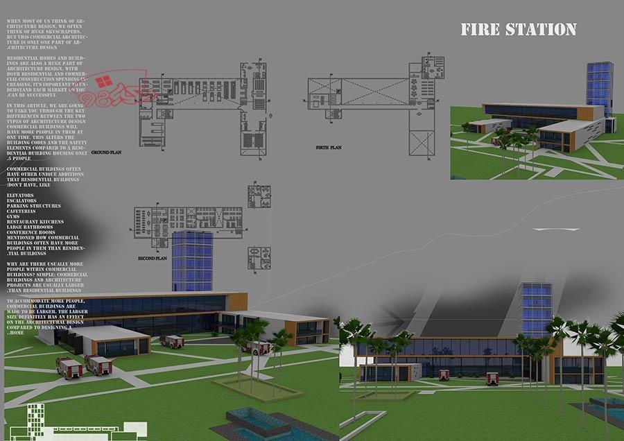 نقشه ایستگاه اتش نشانی کامل با جزئیات