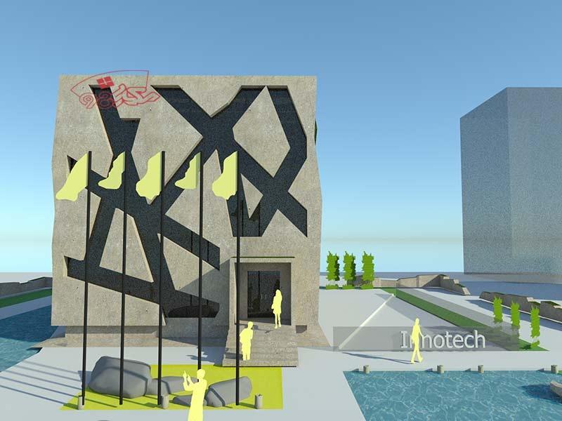طرح اماده معماری مجتمع تجاری زیبا
