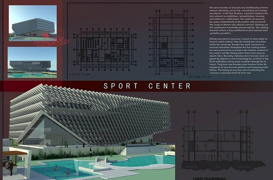 طرح معماری مرکز ورزشی کامل