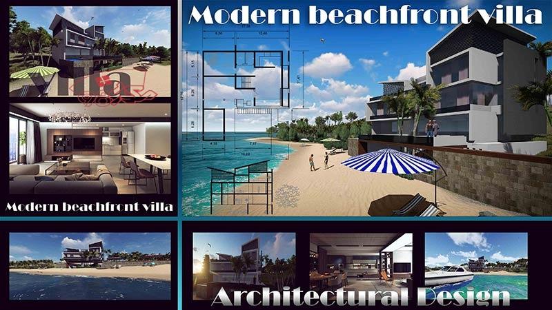 طراحی ویلای ساحلی کامل و زیبا